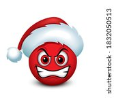 angry emoticon emoji with santa ... | Shutterstock .eps vector #1832050513