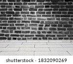 empty room vintage black brick...   Shutterstock . vector #1832090269