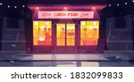 city street with bar at rainy... | Shutterstock .eps vector #1832099833