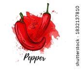 illustration of red papper.... | Shutterstock .eps vector #1832137810