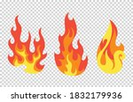 set of red and orange fire... | Shutterstock .eps vector #1832179936