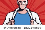 super strong man in style comic ... | Shutterstock .eps vector #1832195599