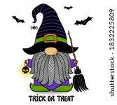 halloween vector gnome in hat...   Shutterstock .eps vector #1832225809