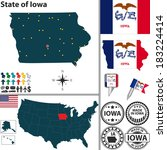 Vector set of Iowa, state with flag and icons on white background