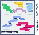 set of retro and flat ribbons | Shutterstock .eps vector #183225800