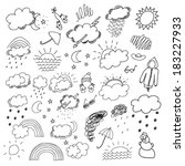 weather hand drawn set | Shutterstock .eps vector #183227933