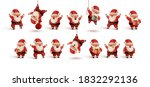 set of happy santa claus in red ... | Shutterstock .eps vector #1832292136