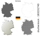 Isolated blank contour maps of Germany - vector version