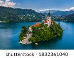 Lake Bled  Slovenia   Aerial...