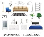interior elements set with... | Shutterstock .eps vector #1832385223