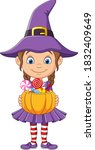 Cartoon Little Witch Girl Holds ...