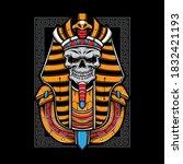 egyptian skull mummy vector... | Shutterstock .eps vector #1832421193