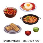 mexican cuisine food dishes of... | Shutterstock .eps vector #1832425729