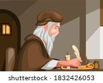 old man writing with feather... | Shutterstock .eps vector #1832426053