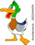 funny duck with green tufted ... | Shutterstock .eps vector #183244454