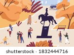 autumn city park with people... | Shutterstock .eps vector #1832444716