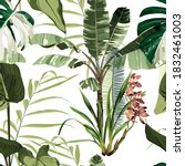 Seamless Pattern With Palm And...
