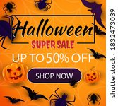 halloween event super sale... | Shutterstock .eps vector #1832473039