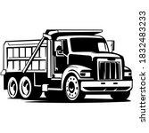 Dump Truck Car Vector On Black...