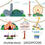 amusement park attraction.... | Shutterstock .eps vector #1832492200