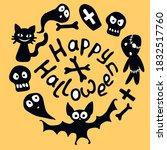 happy halloween lettering and...   Shutterstock .eps vector #1832517760