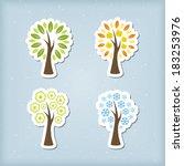 four season tree icons   Shutterstock .eps vector #183253976