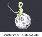 alien photographs himself on... | Shutterstock .eps vector #1832566933