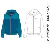 blue women's jacket  outline... | Shutterstock .eps vector #1832575213