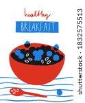healthy breakfast abstract... | Shutterstock . vector #1832575513