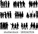 large group of children  ... | Shutterstock .eps vector #183262526