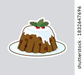 christmas pudding. isolated... | Shutterstock .eps vector #1832647696