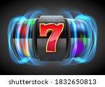 black neon slot machine coins... | Shutterstock .eps vector #1832650813