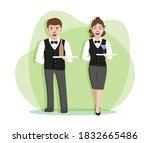 waiter and waitress  butler... | Shutterstock .eps vector #1832665486