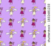 angel and devil little girl... | Shutterstock .eps vector #1832681233