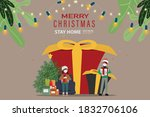 merry christmas and delivery... | Shutterstock .eps vector #1832706106