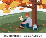 Man Reading Book Vector...