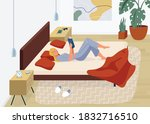 woman reading book vector... | Shutterstock .eps vector #1832716510