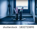 Small photo of Sinterklaas, children put down the shoe, early in the morning, typical Dutch party tradition, get presents, sweets and a letter in your shoe, (put the shoe) December 5, Santa claus