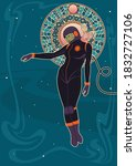 art nouveau woman astronaut in... | Shutterstock .eps vector #1832727106