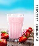 fresh milk  strawberry drink on ... | Shutterstock . vector #183272888
