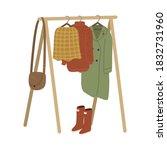 rail and hangers for feminine... | Shutterstock .eps vector #1832731960