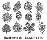 set of stylized tree leaves.... | Shutterstock .eps vector #1832746690