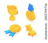 golden trophy cup  five pointed ... | Shutterstock .eps vector #1832759716
