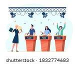 happy participants playing quiz ...   Shutterstock .eps vector #1832774683