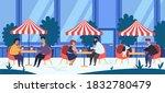 outdoor cafe. people drink... | Shutterstock .eps vector #1832780479