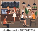 people relax in the cafeteria.... | Shutterstock .eps vector #1832780956