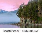 Alaska landscape at sunset  the ...