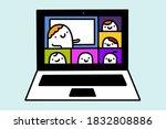 webinar online meeting hand... | Shutterstock .eps vector #1832808886