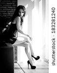 woman sexy black white photo | Shutterstock . vector #183281240