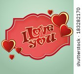 a red icon with some red hearts ... | Shutterstock .eps vector #183282170